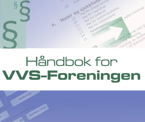 Bildelink til informasjon om ombrekk og forsideillustrasjon til håndbok for VVS-foreningen. Utformet av Form og Fantasi, ved Sissel Slåttedal.