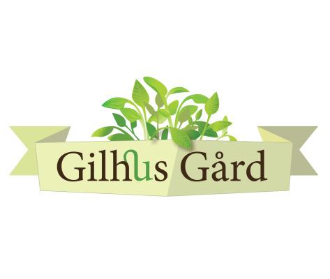 Bildelink til informasjon om logo for Gilhus Gård, Lier. Utformet av Sissel Slåttedal, Form og Fantasi
