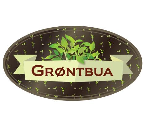Bildelink til informasjon om skilt og logo for Grøntbua, Gilhus Gård, logo utformet av Sissel Slåttedal, Form og Fantasi.